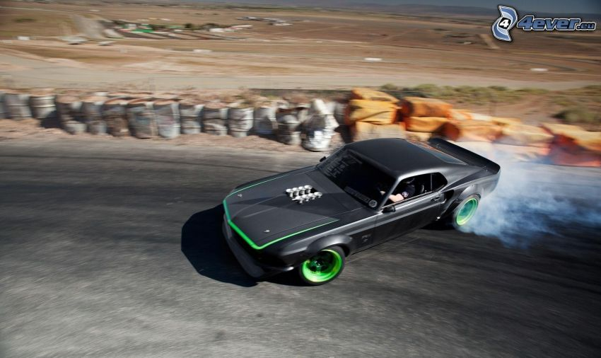 Ford Mustang, drift, humo