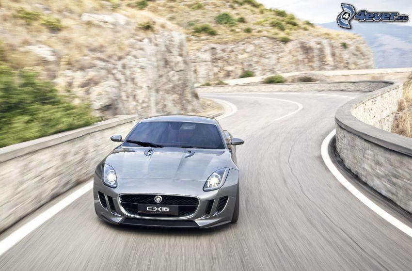 Jaguar C-X16, acelerar, camino, roca