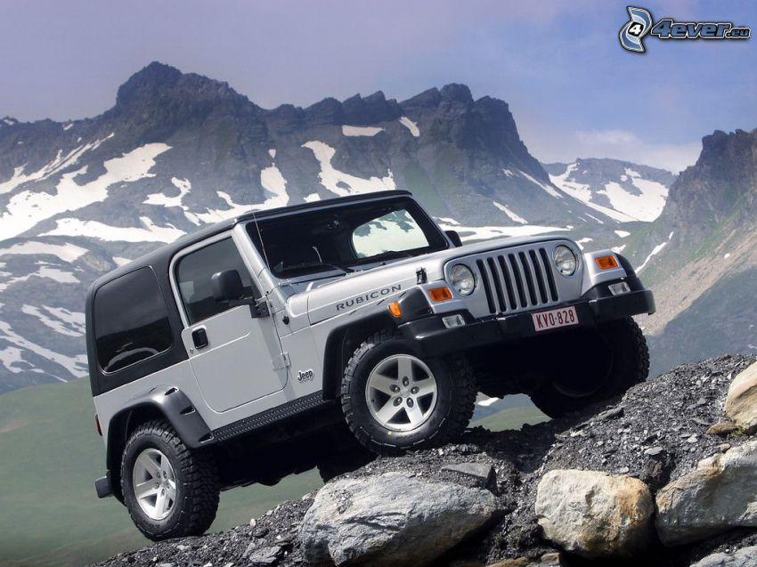 Jeep Wrangler, coche todoterreno, terreno, montaña rocosa, nieve