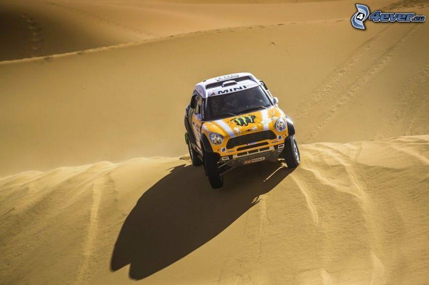 Mini Cooper, desierto, dunas de arena, rally
