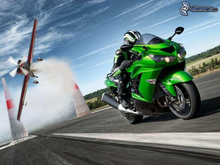 Kawasaki, acelerar, avión