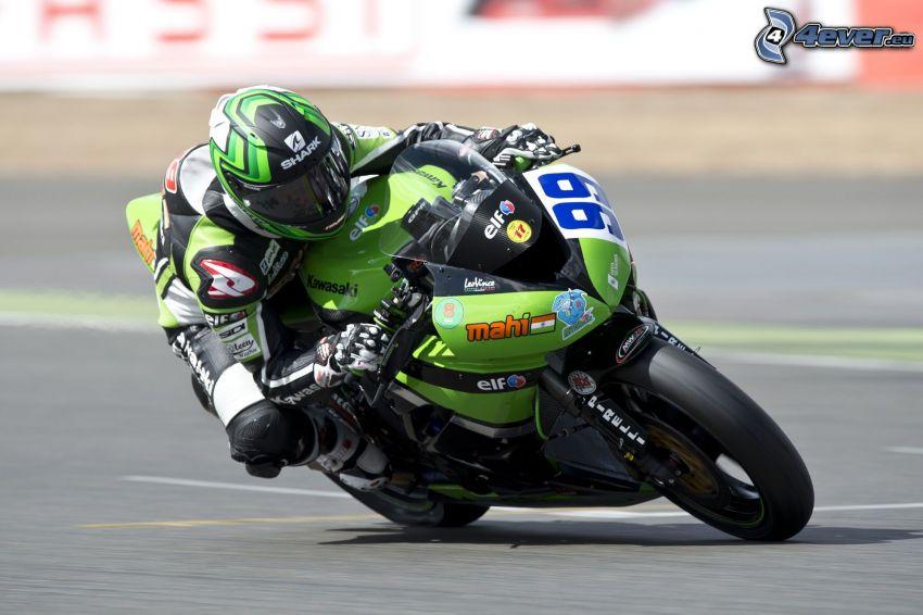 Kawasaki, motociclista, acelerar