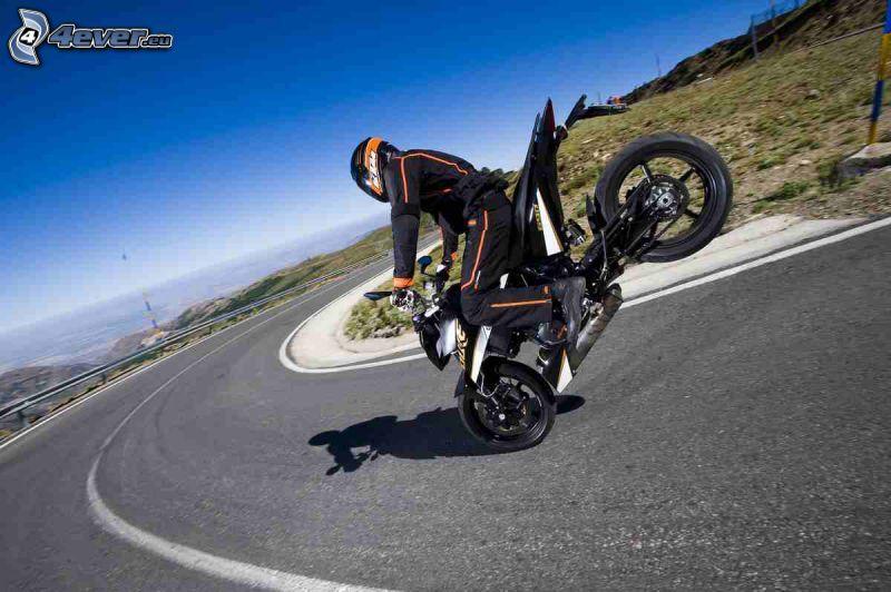 motociclista, motocicleta, acrobacia, curva