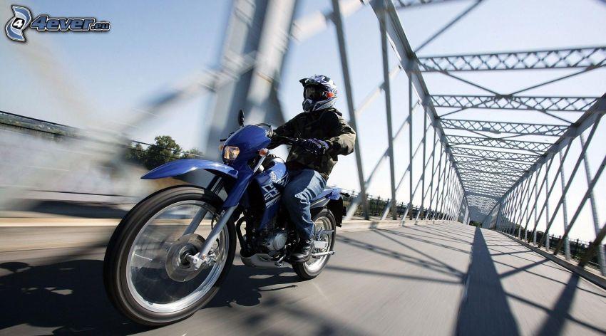 motociclista, puente, acelerar
