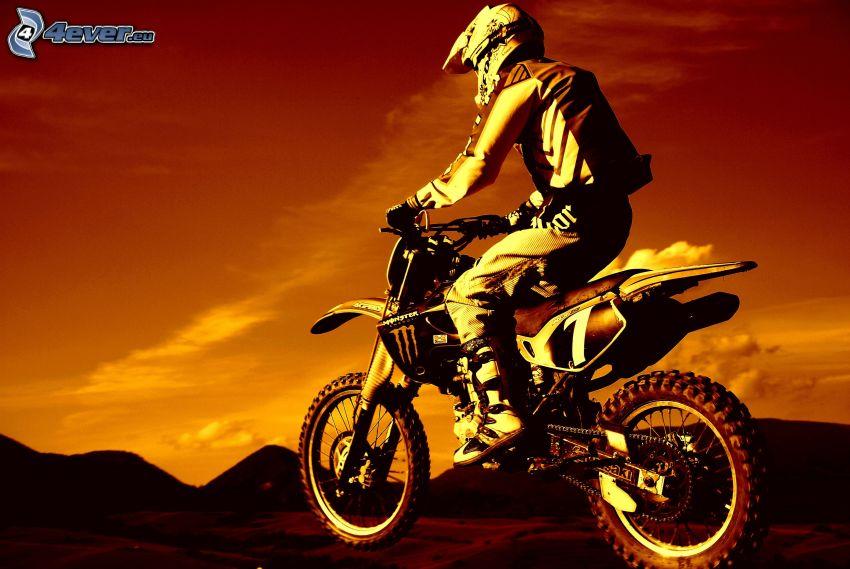 motocross, cielo anaranjado