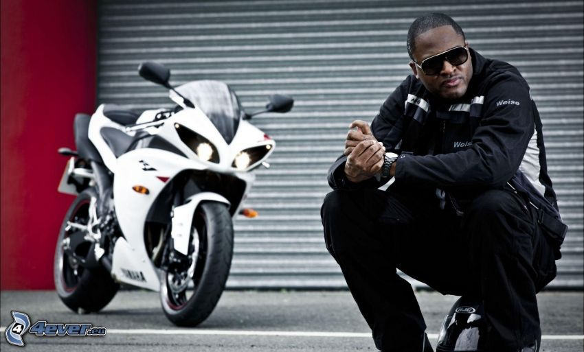 policía, negro, Yamaha R1