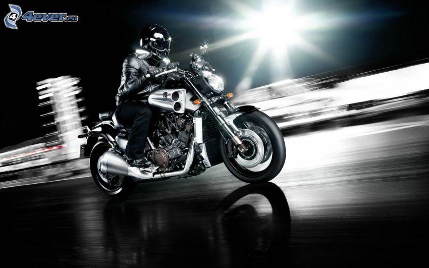 Yamaha V-Max, motociclista, acelerar, noche, luz