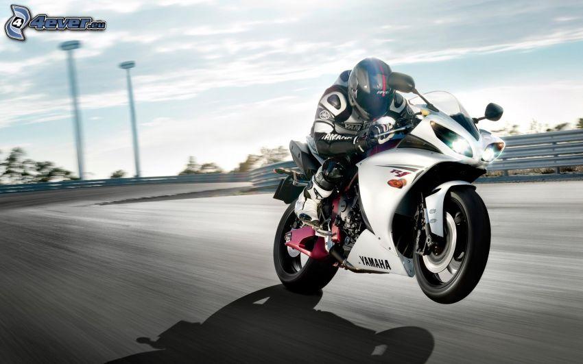 Yamaha YZF R1, motociclista, camino, acelerar