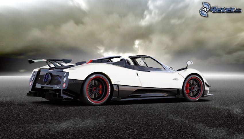 Pagani Zonda, coche deportivo, descapotable, nubes