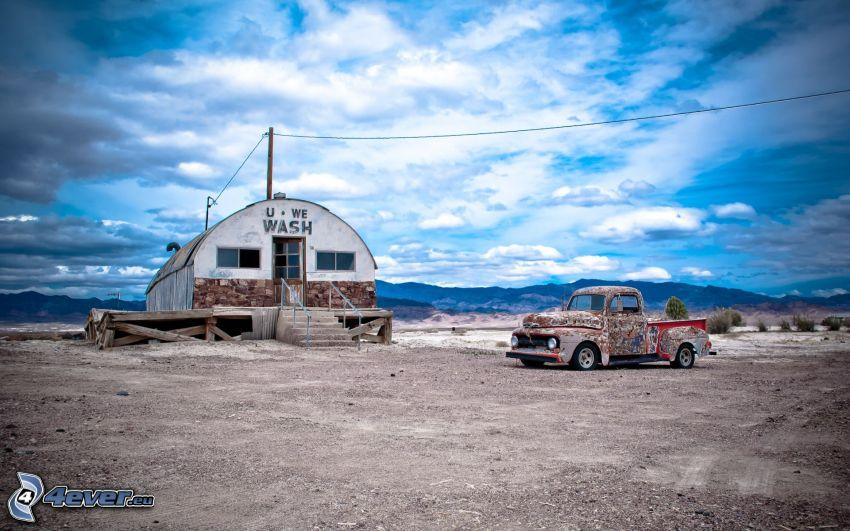 pickup truck, edificio