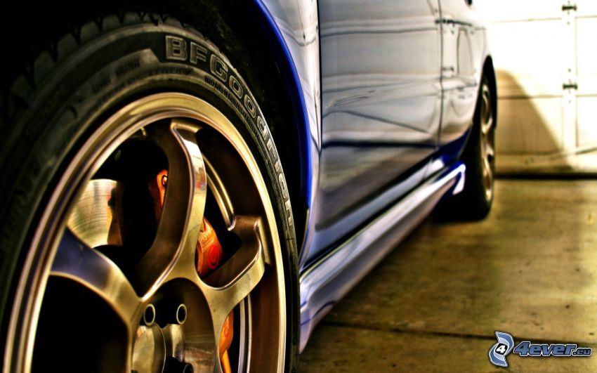 rueda, coche, disco, freno