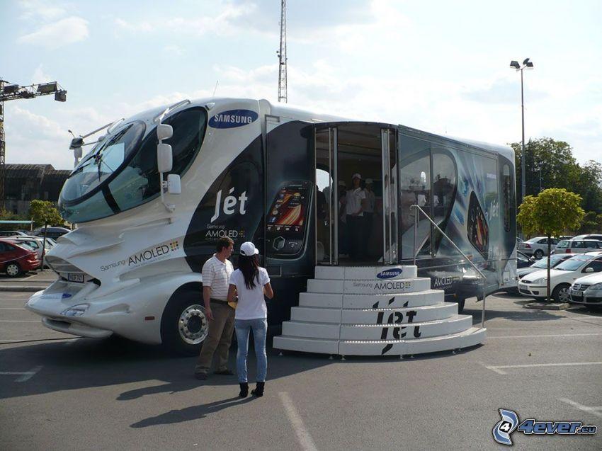 Samsung Amoled, publicidad, autobús