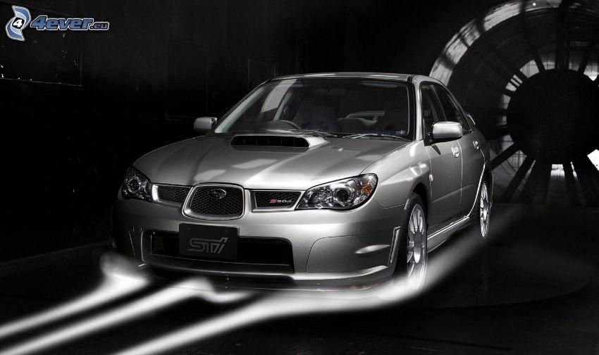 Subaru, blanco y negro