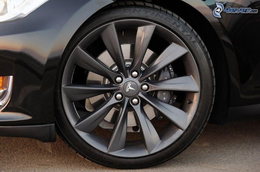 Tesla Model S, rueda, disco, coche eléctrico