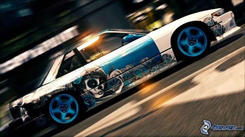 coche, acelerar, dibujo