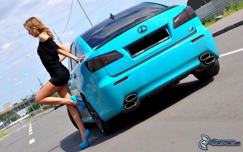 Lexus, modelo, vestido negro