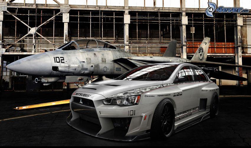 Mitsubishi Lancer Evolution, tuning, avion de caza