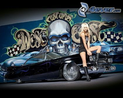 Muscle Car, coche, tuning, grafiti, veterano