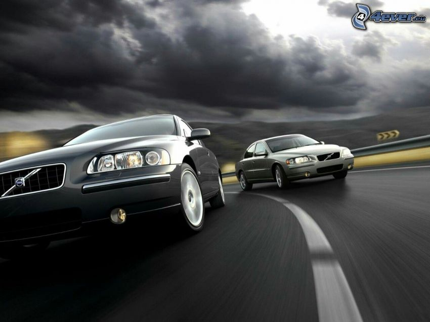Volvo S60, acelerar, camino, nubes