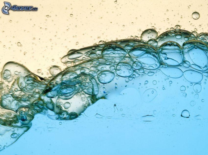 aceite, agua, burbujas