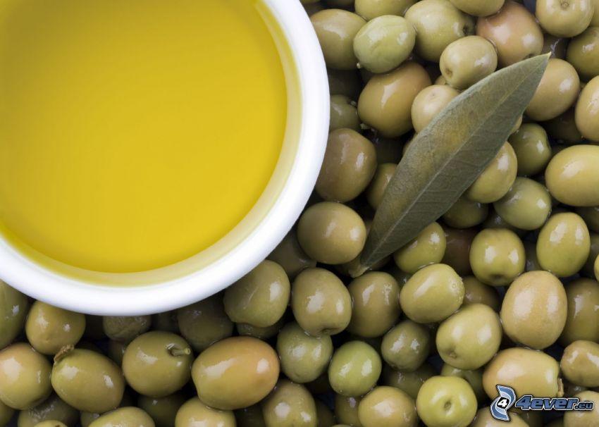 aceite de oliva, aceitunas, hoja