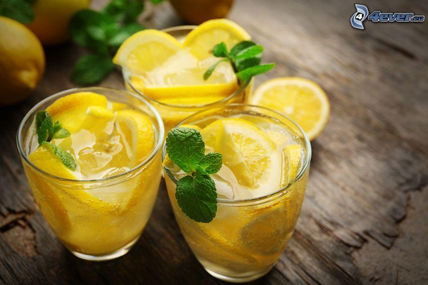 agua con limón, menta