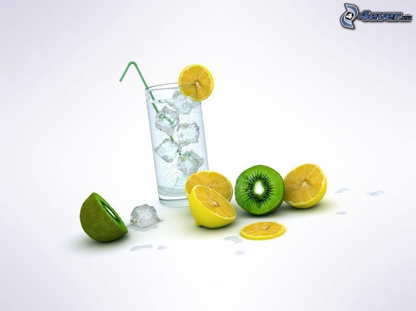 agua enfriada, bebidas, cubitos de hielo, limones, kiwi en rodajas