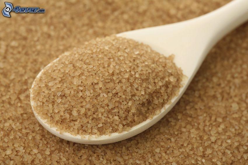 azúcar moreno integral, cuchara