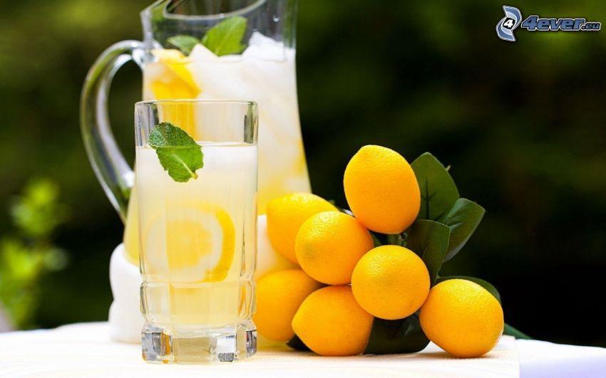 bebida, limones, copa