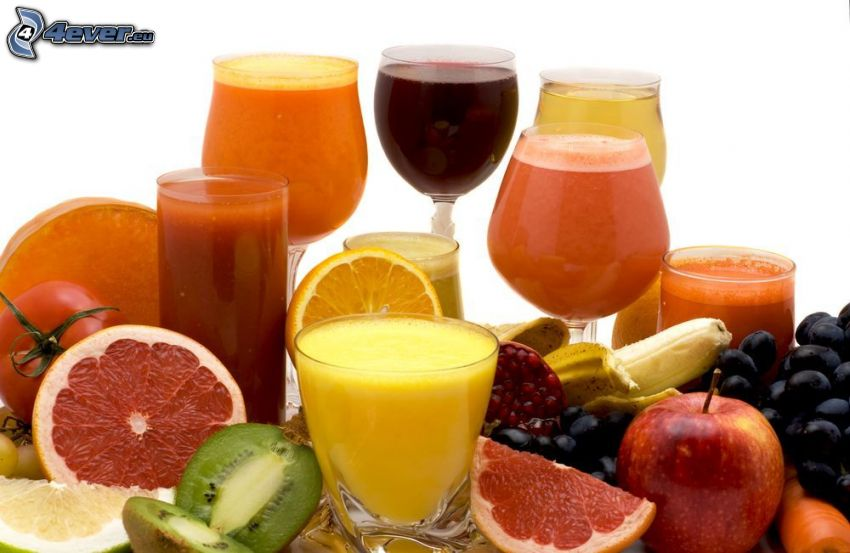 bebidas, fruta, pomelo, kiwi, naranja, plátano, granada, uvas, manzana, zanahoria, tomate