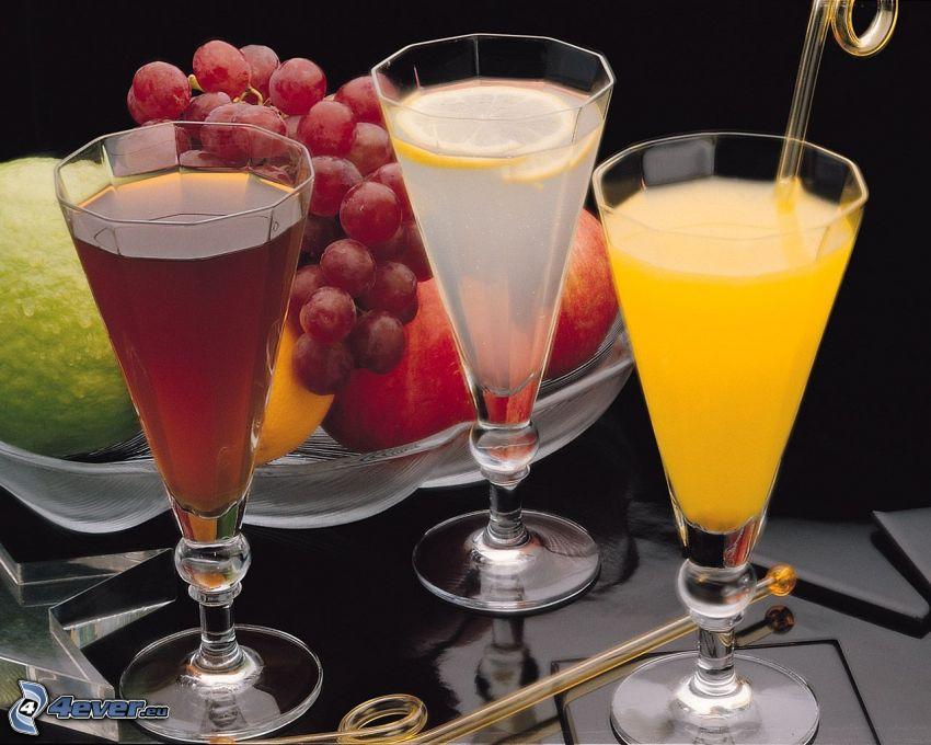 bebidas, fruta, uvas