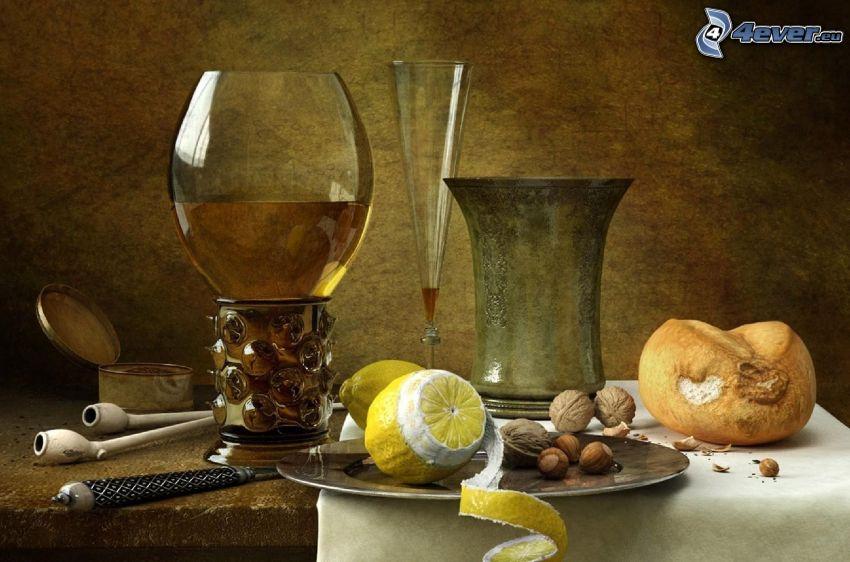 bodegón, limón, nueces, vino