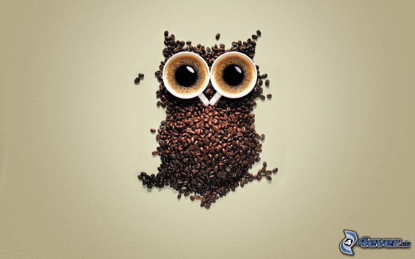 búho, granos de café, taza de café