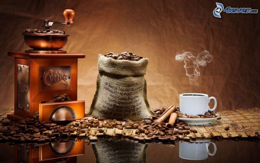 café, granos de café, amoladora