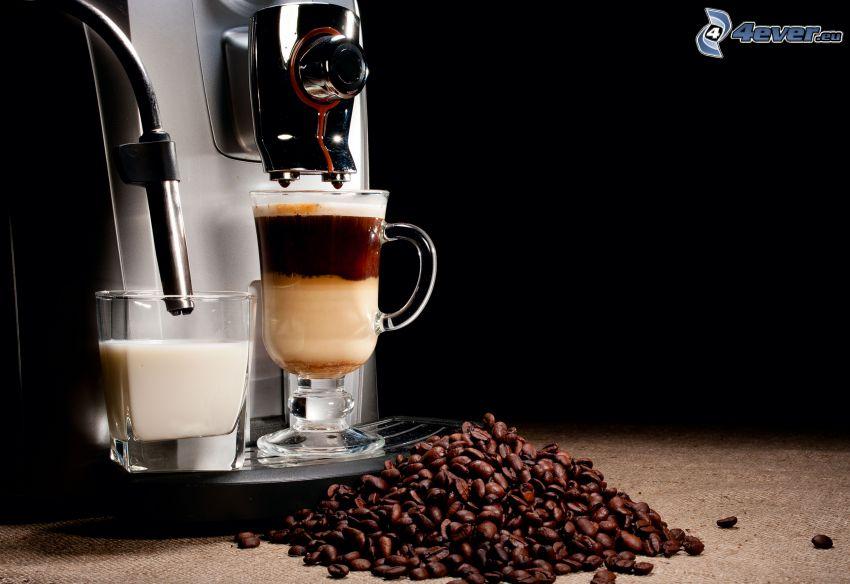 café, granos de café, cafetera