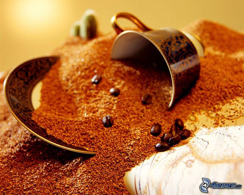café, granos de café, taza