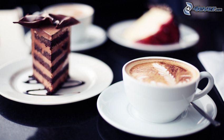capuchino, pastel de chocolate