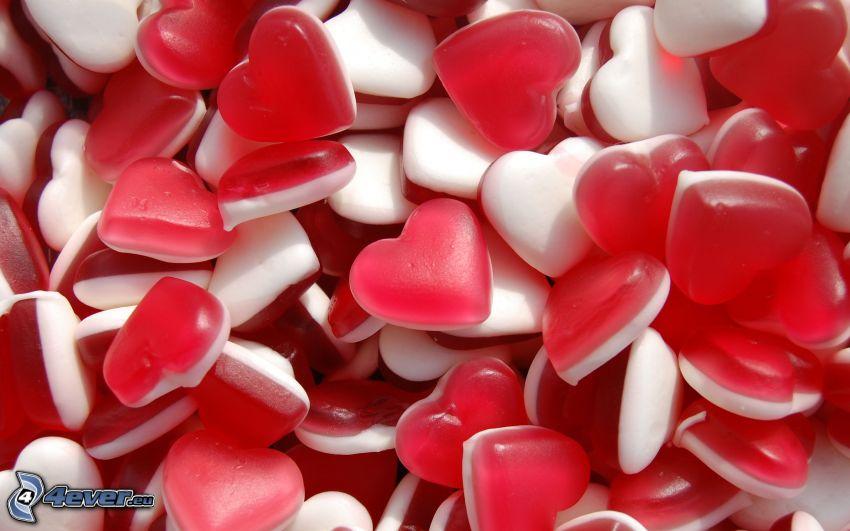 caramelos, corazones, gelatina