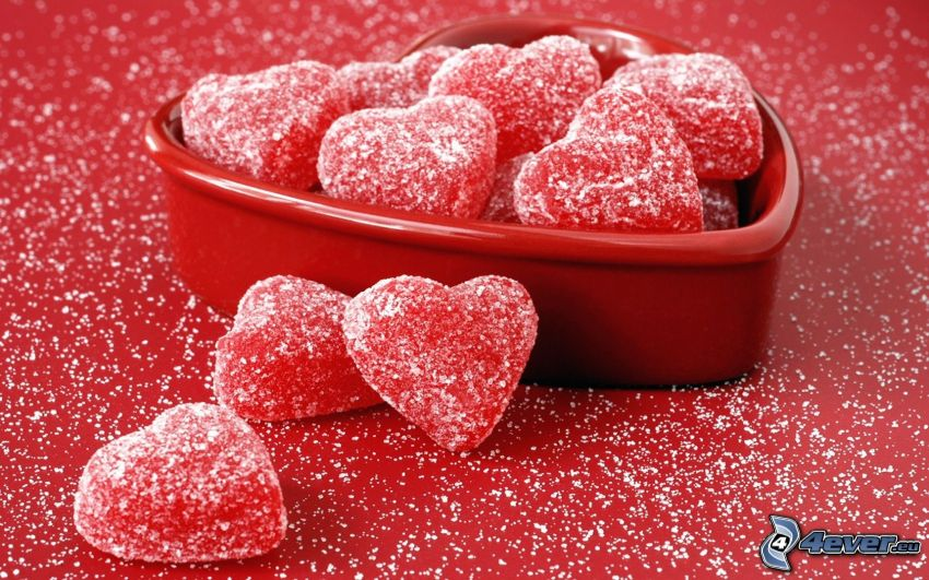 caramelos, corazones rojos