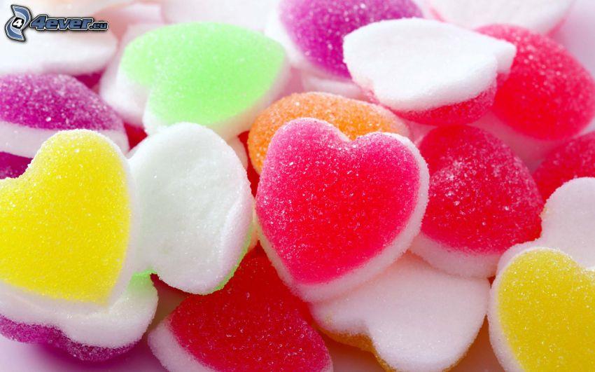 caramelos de colores, corazones