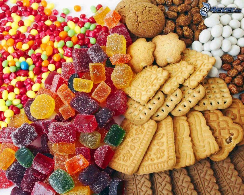 caramelos de colores, galletas