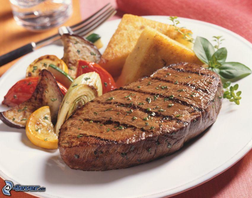 carne a la parrilla, verduras, almuerzo
