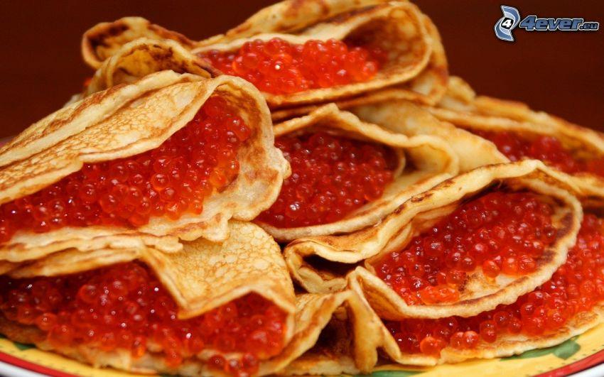 caviar, crepas