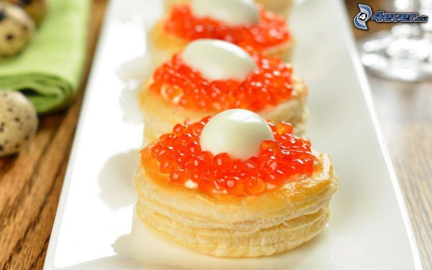 caviar, huevo, pan