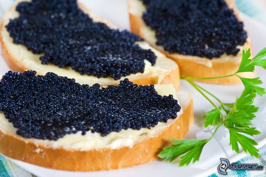 caviar, mantequilla, pan, hierbas