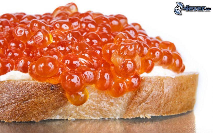 caviar, pan, mantequilla