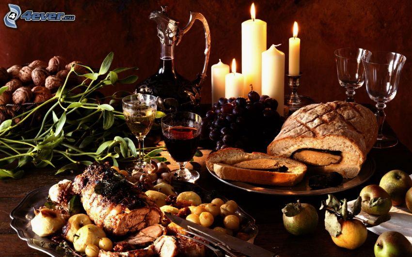 cena, carne, uvas, vino, manzanas, velas