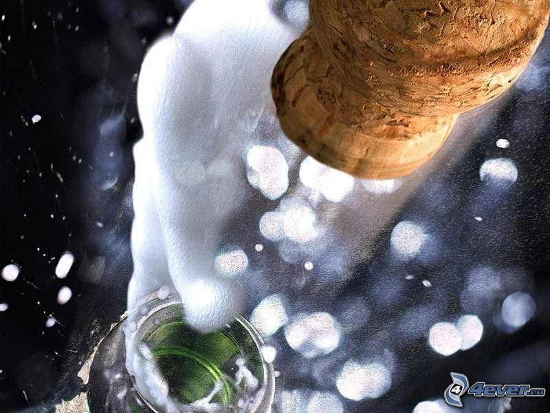 champán, vino, corcho