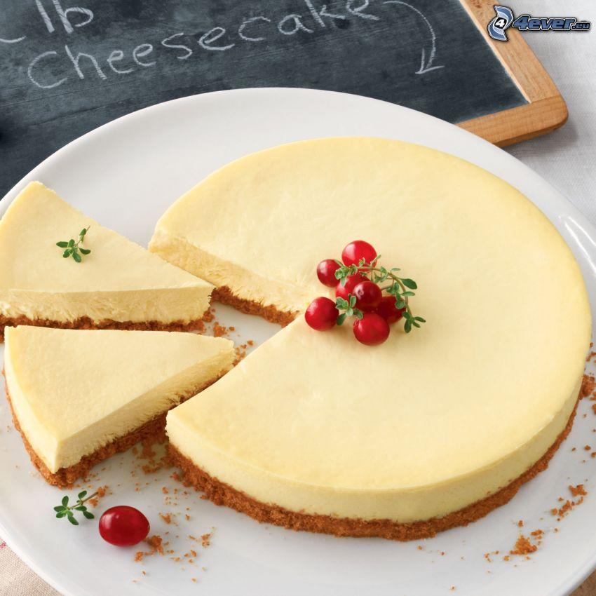 cheesecake, arándanos agrios