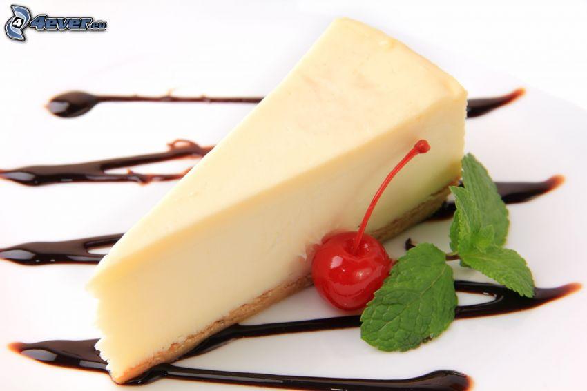 cheesecake, cereza, menta, chocolate